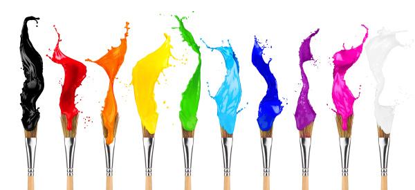 farverig farve splash pensel raekke