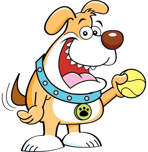 cartoon, illustration, of, , dog, holding - 28215670