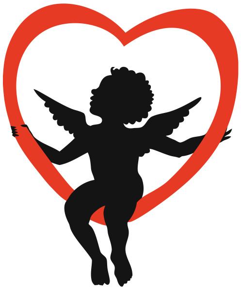 engel, amor, siddende, hjerte, silhuet, illustration - 28215332