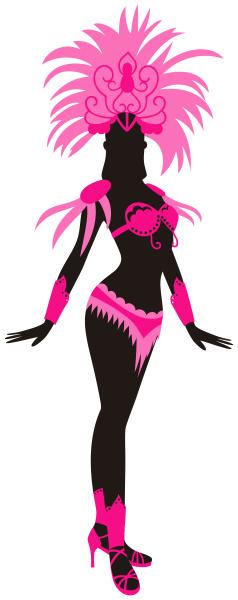 kvinde, klædt, til, brasiliansk, karneval, pink - 28215345