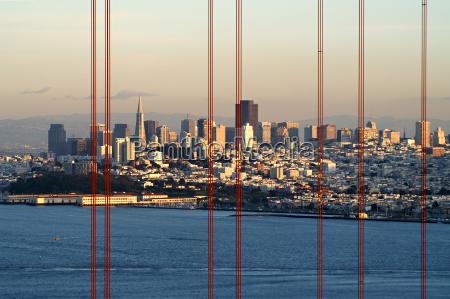 bro usa aften californien skyline anskuelse