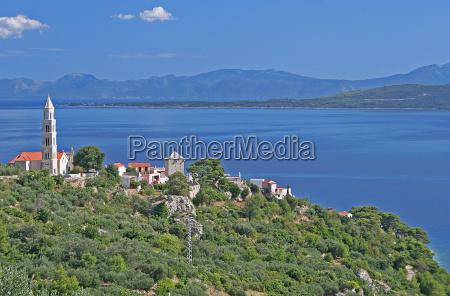 by kyst middelhavs adriatic kroatien postkort