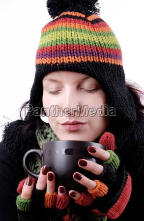 kvinde cafe kop te drikke drukket