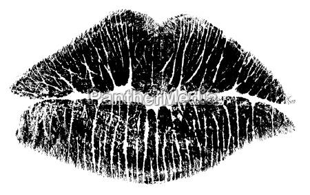 kuss lippen bitmap nur schwarz weiss
