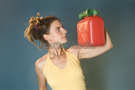 woman with canister