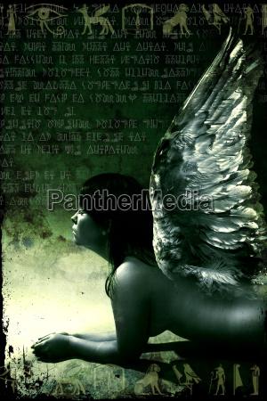kvinde afrika vinge kunstplakat engel engle