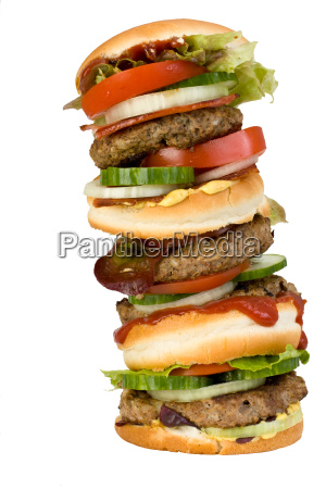 quadruple hamburger isolated on white background