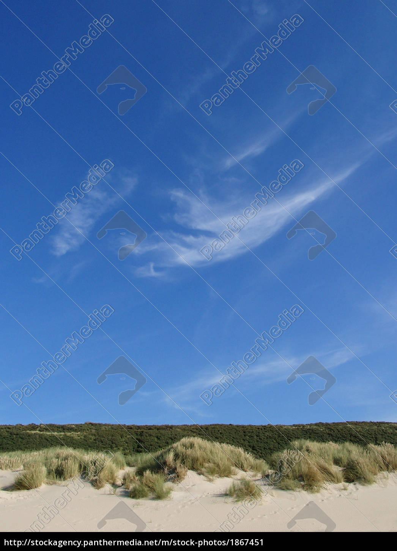 blå, himmel, over, klitlandskab - 1867451
