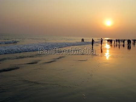 sunset at puri sea beach