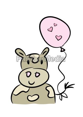 ko med en hjerteformet ballon