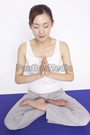 japanese woman doing yoga