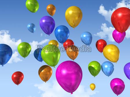 farvede balloner pa en bla himmel