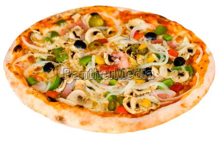 pizza, med, svampe, skinke, oliven - 3402699
