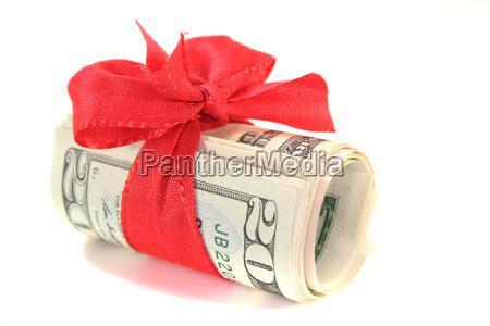 dollar bills with bow