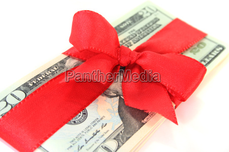 dollar bills with a bow