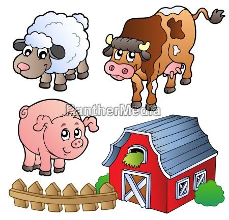 indsamling af forskellige husdyr