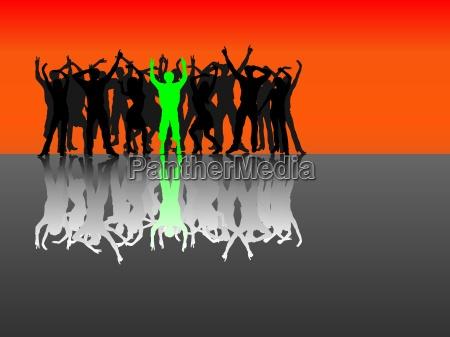 grupper af personer med skygge spejling