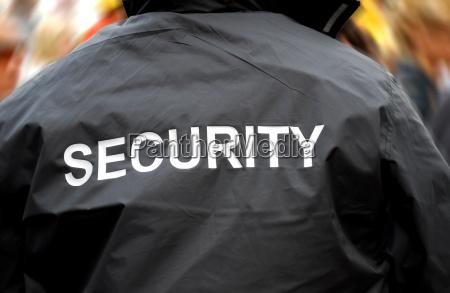 bagsiden af en sikkerhedsvagt foran sloret