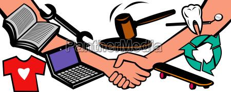 auktion varer handtryk deal swap udveksling