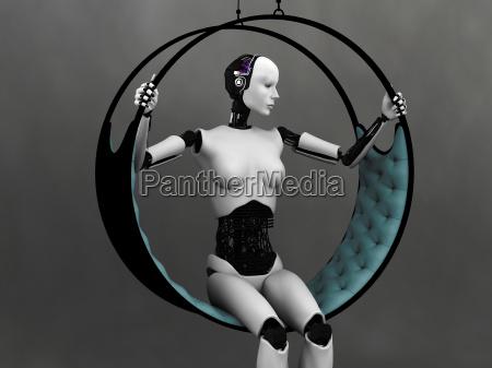 robot kvinde sidder i futuristisk haengekoje