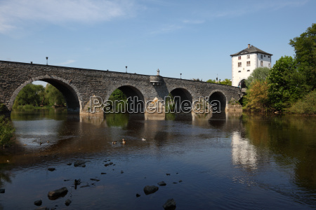 old lahn bridge in limburg germany