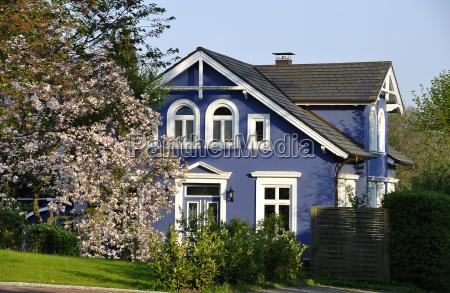blue residential house