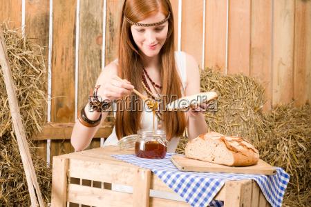 redhead hippie woman have breakfast in