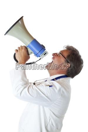 laege medic doktor profil meddelelse megafon