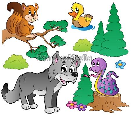 forest tegneserie dyr saet 2