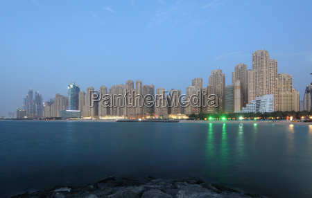 dubai marina skyline in the evening
