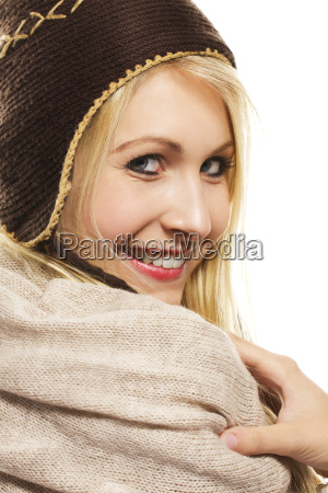 portrait of a beautiful blonde happy
