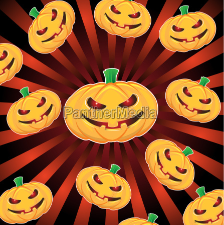 halloween pumpkins with ray background
