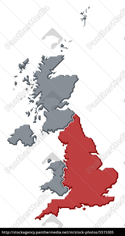 Kort Over Storbritannien Stockphoto 5515305 Panthermedia