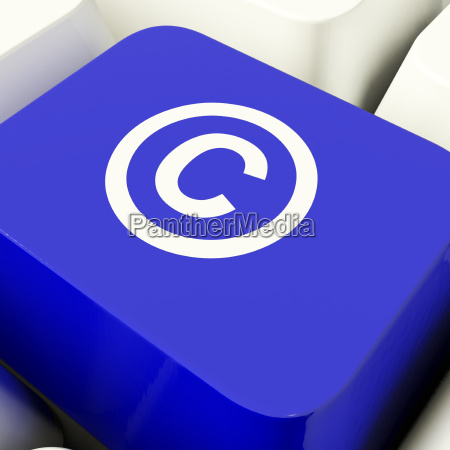 copyright computer key in blue viser