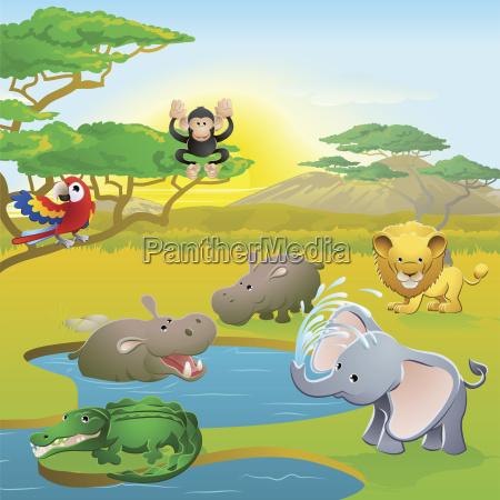 cute afrikansk safari dyr tegneserie scene