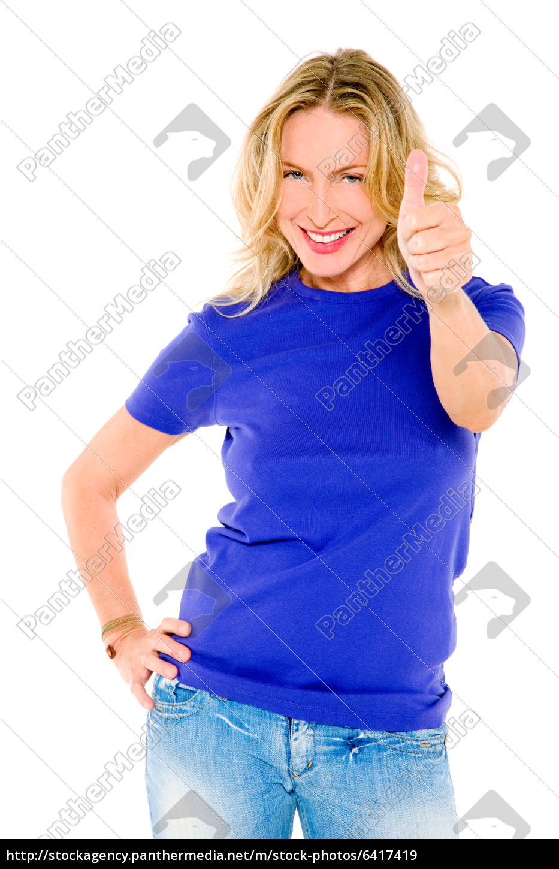 kvinde, med, tommelfinger, op - 6417419