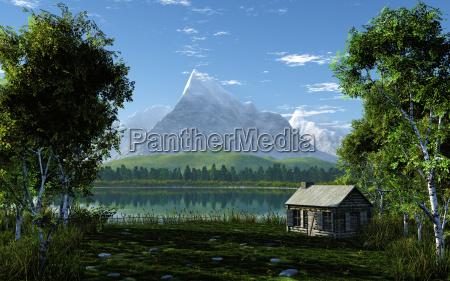 idyllisk bjerglandskab