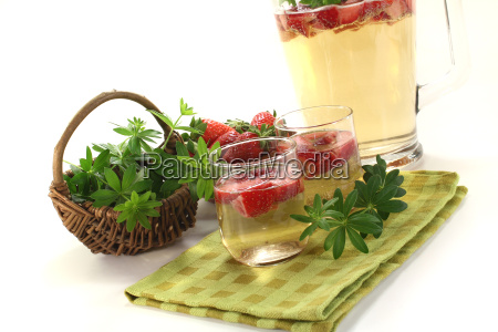 fresh may wine with strawberries and