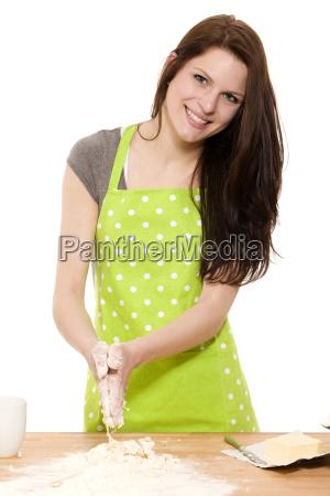 happy woman when baking