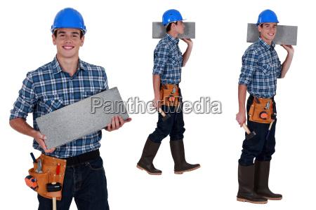 worker transporterer brise blok