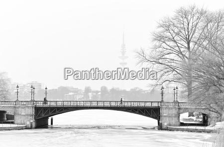 inverno ponte hamburgo jogger