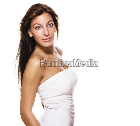 side portrait of a beautiful woman