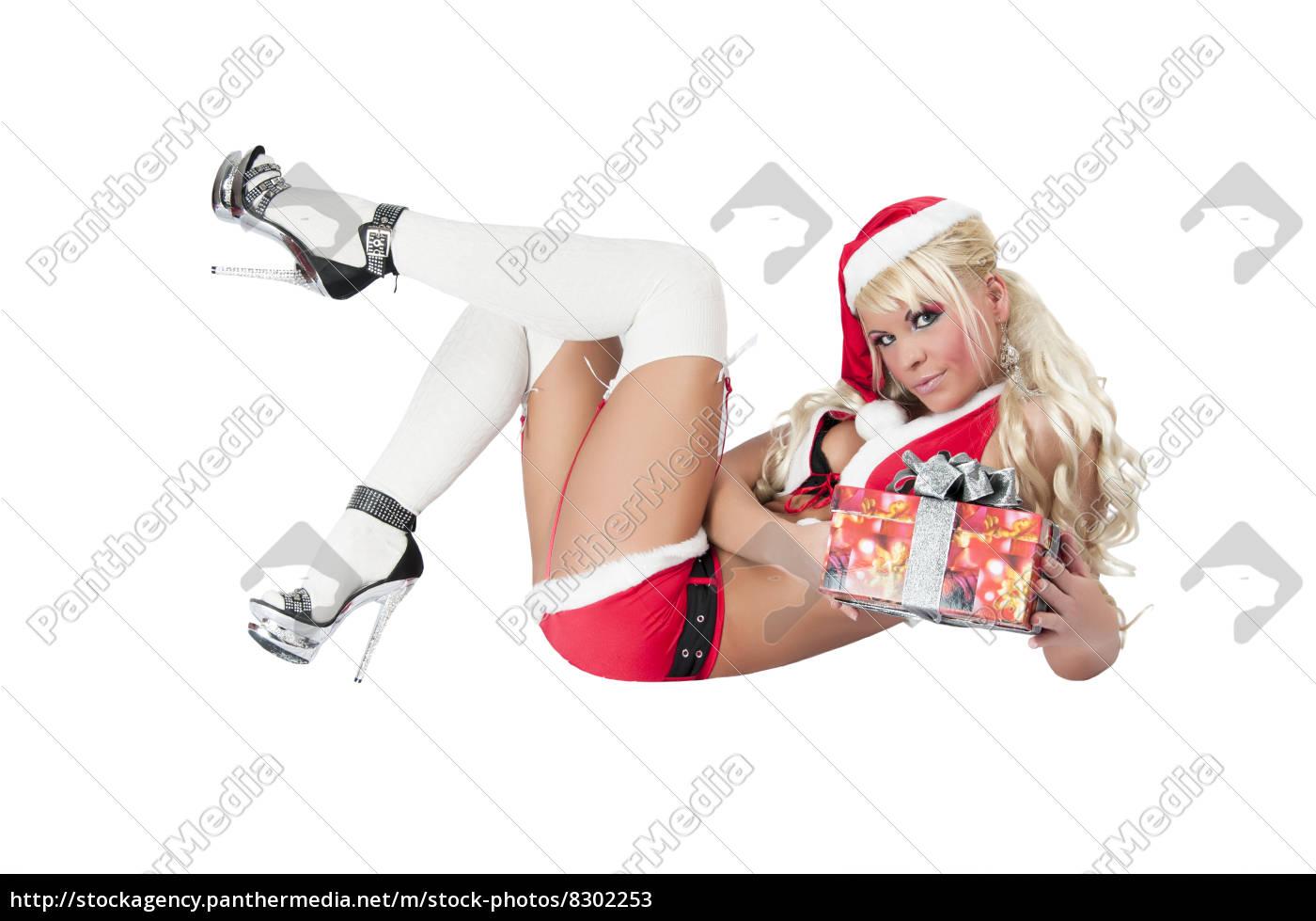 sexet, kvinde, som, en, julekvinde, med - 8302253