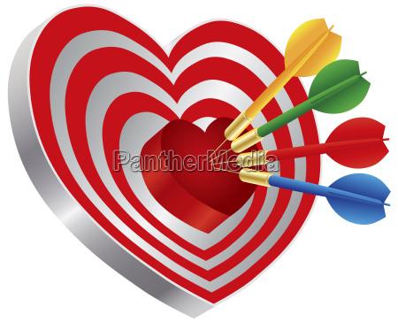dart pa hjerte figur bullseye illustration