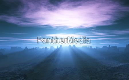 solstraler daemring tusmorke dagning skumring landskab