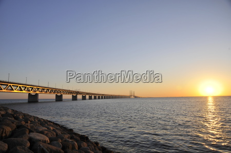 oresund solnedgang bro
