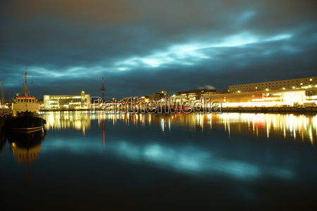 kiel illuminated skyline at night