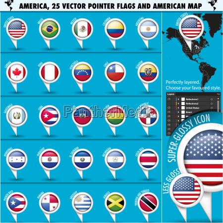 amerika pointer flag icons mit amerikanischen