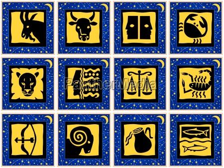 quadrados com sinais do zodiaco graficos