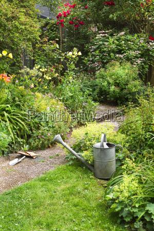 garden work on summer morning